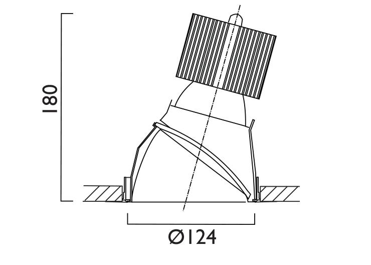 VP X124 Lens Wallwasher Line Drawing